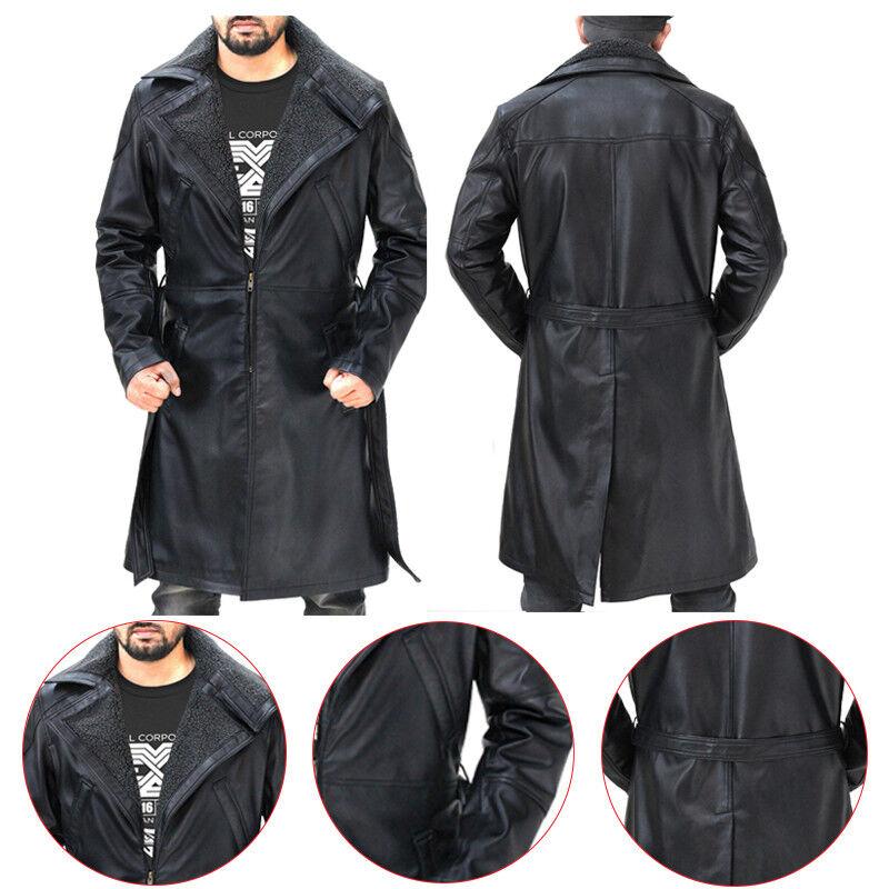 Blade Runner 2049 Ryan Gosling (Officer K) Fur Lapel Collar Trench Leder Coat