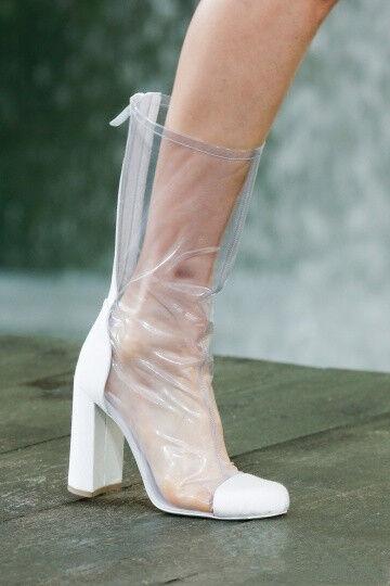 Transparent Blockabsatz  Stiefel Damen Blockabsatz Sexy Reißverschluss Schuhe