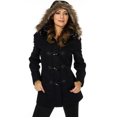 Swiss Jacket Coat Parka Toggle Uld Hooded Button Duffy Alpine Fur Trim Dame S8dSPwAq