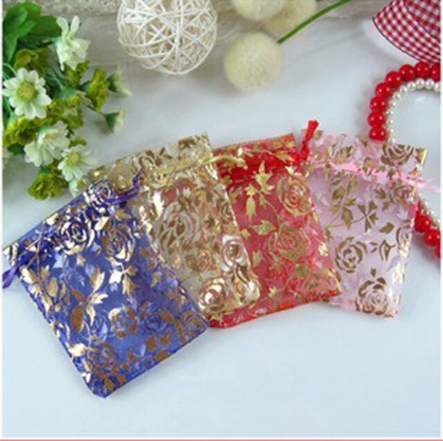 Hot 100Pcs Gauze Organza Gift Bag Wedding Party Favor Gift Candy Bag Pouch 7x9cm