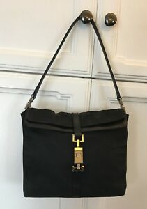 03c440713 Image is loading AUTHENTIC-Gucci-Black-Canvas-Leather-Small-Handbag-Hobo-