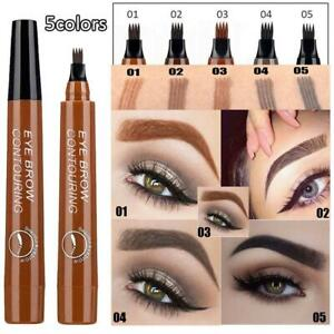 Details about 4 Head Waterproof Fork Tip Ink Sketch Pen Microblading Tattoo  Eyebrow Pencil