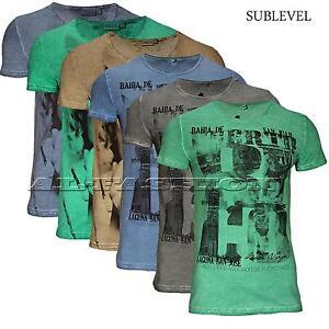SUBLEVEL-HERREN-T-SHIRT-V-oder-RUNDHALS-AUSCHNITT-OL-EFFEKT-Gr-S-XXL