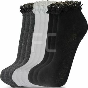 NEW-WOMENS-GIRLS-3-MULTI-PACK-LACE-TOP-FRILLY-ANKLE-TRAINER-SOCKS-SCHOOL-SIZE