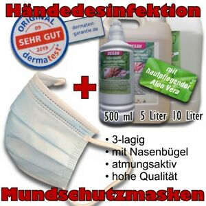 Schnell Desinfektionsmittel + Masken Mundschutz Mund Nase Gesichtschutz Hygiene