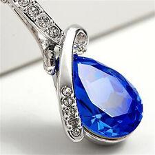 Blue Crystal Water Drop Pendant Necklace Rhodium Plated Zircon Necklaces @E