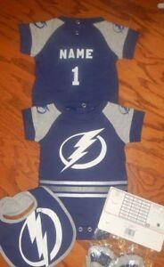 7332db7da Tampa Bay Lightning Newborn Infant NHL Jersey Bib   Bootie Set add ...