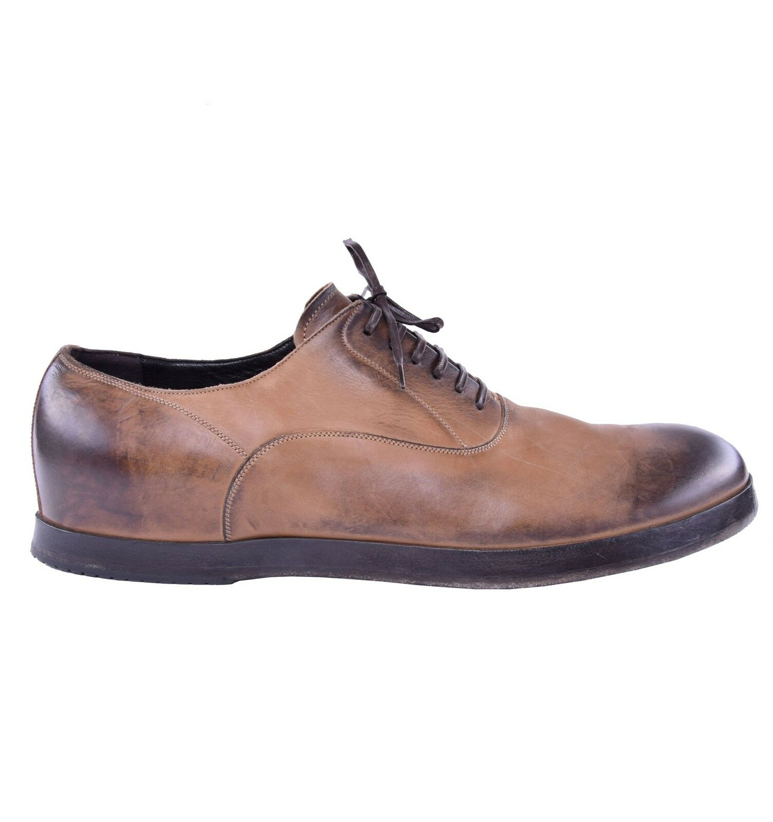 DOLCE & GABBANA RUNWAY Solid Calf Leather Shoes Light Brown 03895