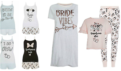 Kompetent Disney Bride To Be Pyjamas Women Bride Vest Shorts Ladies Hen Party Pj's Primark