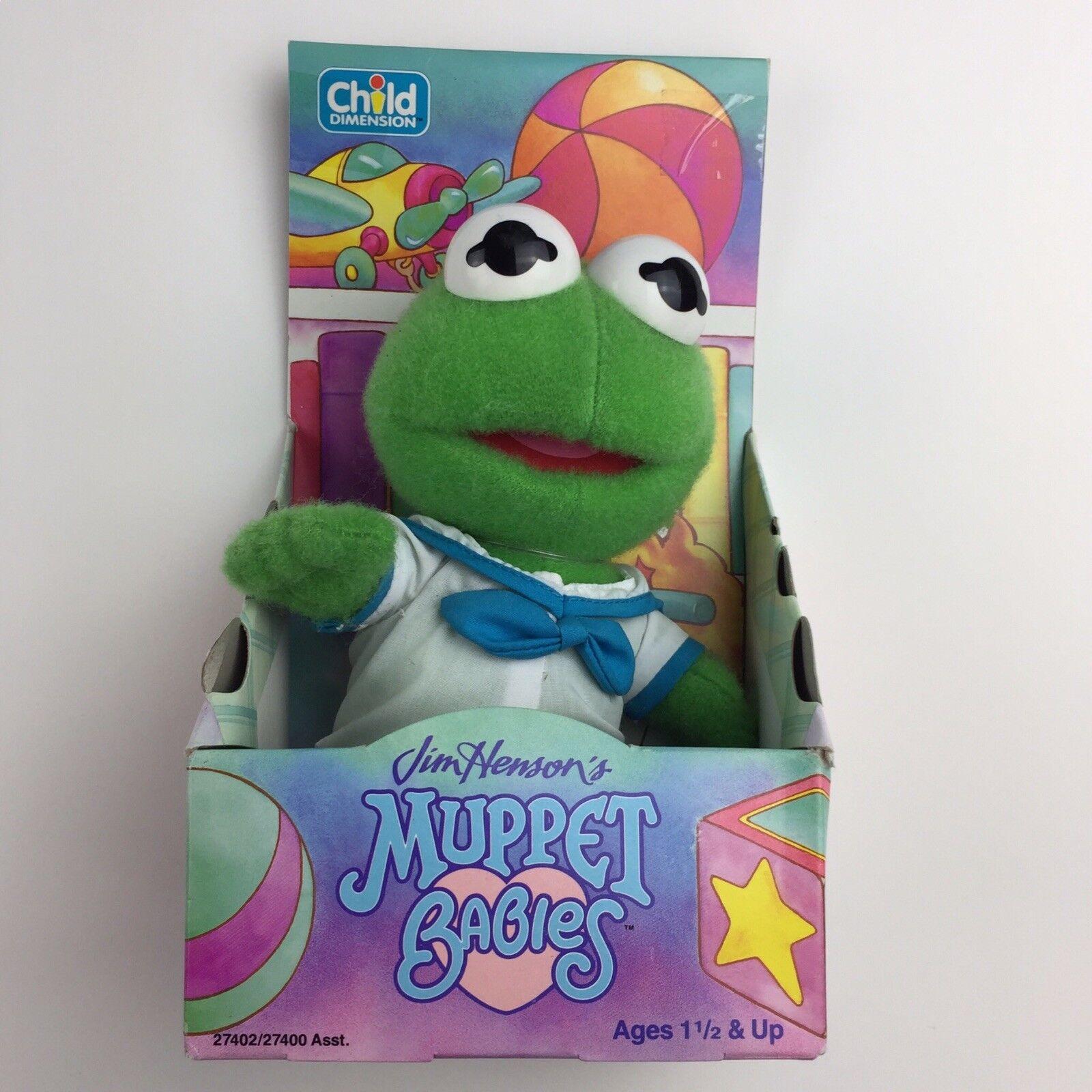 NIP vendimia, 1992, marioneta, marinegro Kermit, talla de niño Jim Henson.