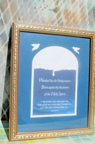 "I Will Sprinkle Clean Water Upon You Scripture Framed wall Decor 11"" x 9"""