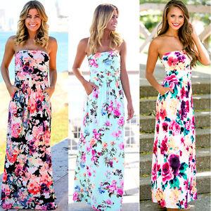Women-039-s-Holiday-Strapless-Bandeau-Long-Maxi-Dress-Floral-Party-Beach-Sundress