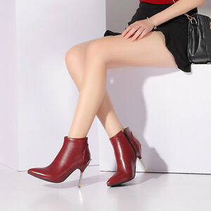 Womens-Ladies-Zip-Pointed-Toe-High-Heel-Ankle-Boots-Shoes-AU-Size-2-5-10-B38