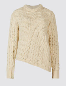 bff4b337347 New EX M&S Cream Chunky Cable Knit Thick Winter JUMPER Size 8 - 20 ...