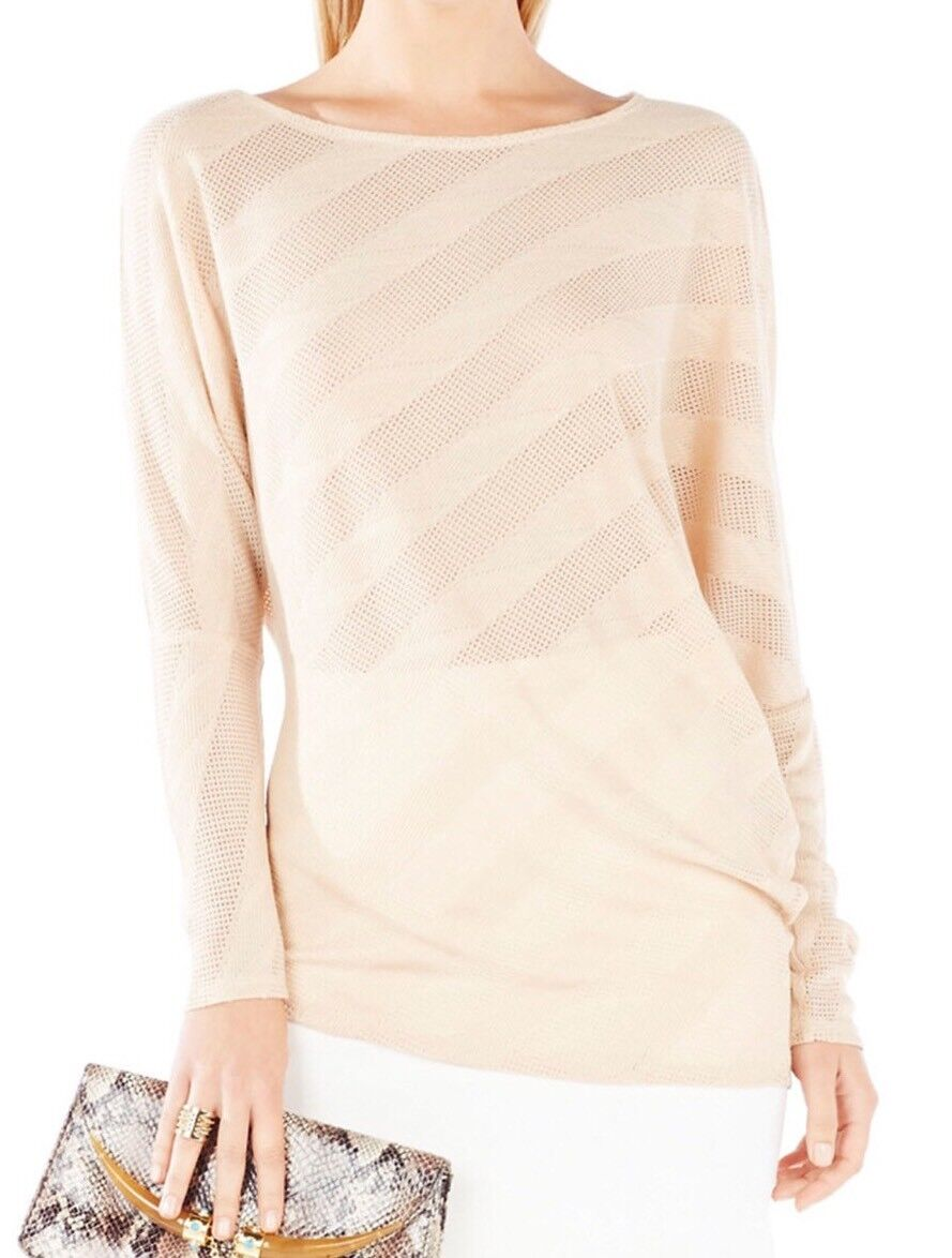 New  BCBG Max Azria Laheld Draped Sleeve Stripe Knit Jacquard B2914 Top Sz S