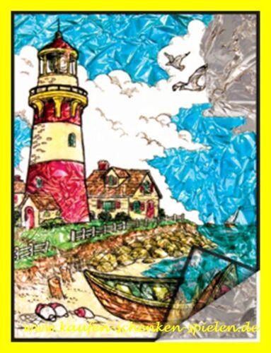 Malen nach Zahlen auf Folie Leuchtturm am Meer Komplettset 22 cm x 29 cm
