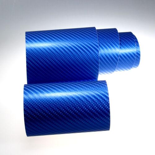 PREMIUM 4D Carbon Auto Folie Blau Metallic Glanz Luftkanäle Car Wrap 8,88€//m²
