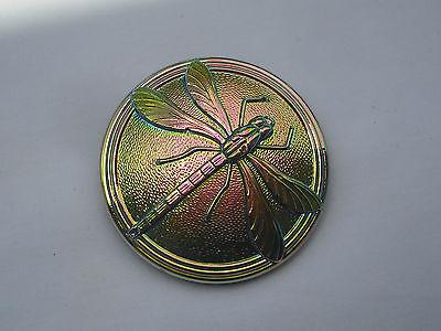 Czech Glass, 41mm Diameter, Dragonfly on Iridescent Glass, Item 235
