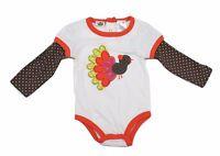 Baby Girls Onesies Bodysuits Long Sleeves First Thanksgiving Turkey 12M 18M 24M
