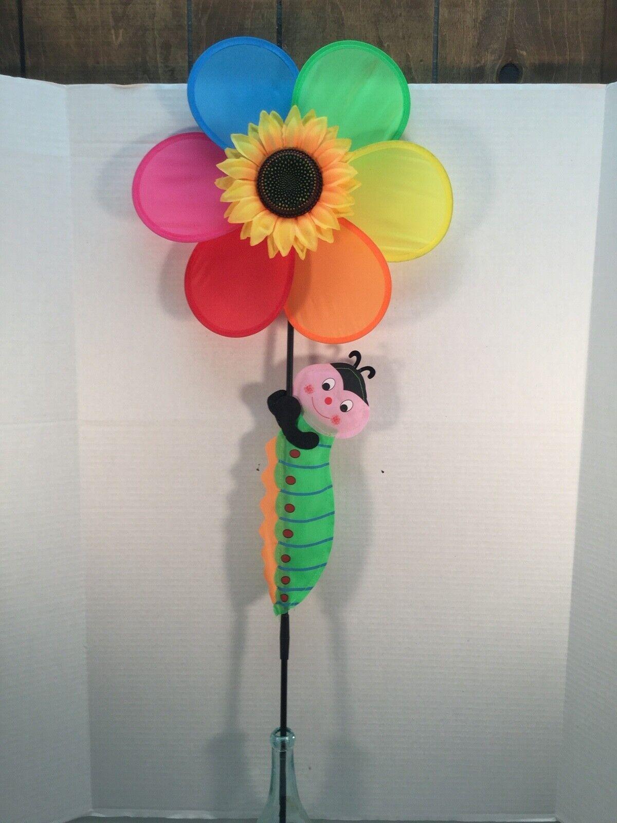 New Multi Color Flower w/Sunflower & Caterpillar, Wind Spinner, 14