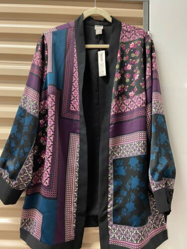 NWT Chicos Soft Bohemian Patchwork Jacket Multi Pa