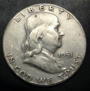 Nice-Very-Fine-VF-1951-S-San-Francisco-mint-Franklin-silver-50C-half-dollar
