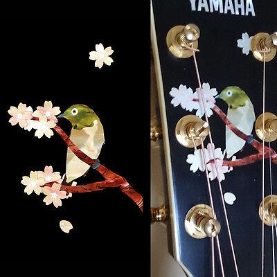 Japanese Bush-WarblerInlay Bird with Sakura Inlay Sticker Decal Guitar Pickguard
