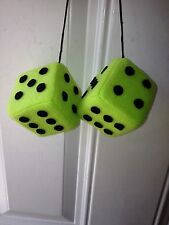 LIME GREEN WITH BLACK FUZZY DICE 3 inch square mirror hangers