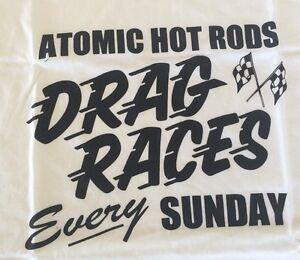 Atomic-Hot-Rod-Drag-Shirt-White-Medium-Chev-Ford-Harley-Triumph-chopper-BSA