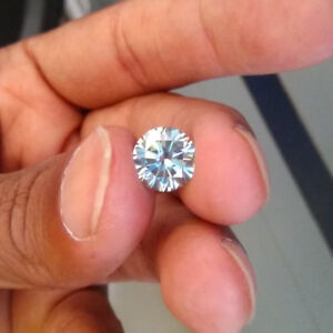 98f33bc4196aa Details about 4.19 CT 10.8 MM Light Blue Round Excellent Diamond Cut Real  Moissanite 4 Ring