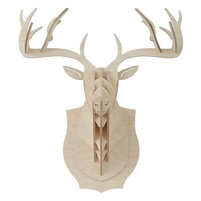 Deer Elk Stag Head Antler 3D Puzzle DIY Jigsaw Wood Animal Model Wall Mount Deco