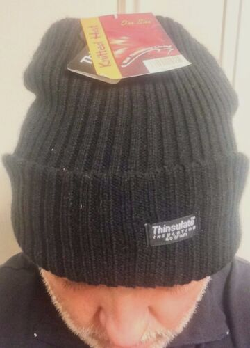 THINSULATE CHUNKY BLACK BEANIE LINED 40 GRAM WINTER HAT ONE SIZE WARM NEW