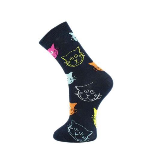 New Soft Cotton Long Happy Socks Vintage Colorful Retro Funny Cat Pattern Socks