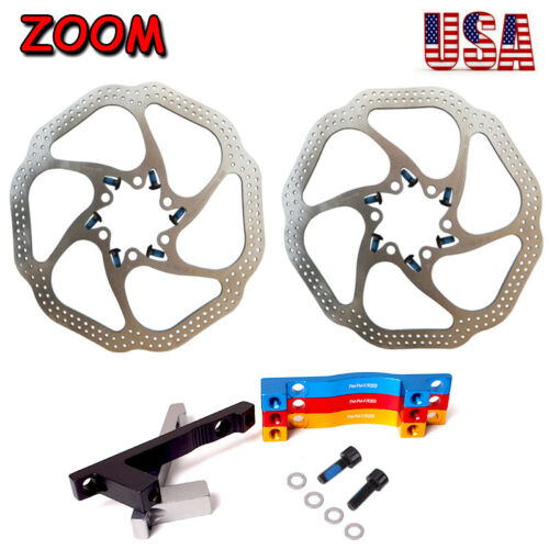 160//180mm MTB Bike 6-Holes Disc Brake Rotor Bicycle Caliper PM Adapter 180//203mm