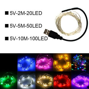 20-50-100-LED-Lichterkette-Draht-Mikro-Drahtlichterkette-USB-Aussen-Innen-Party