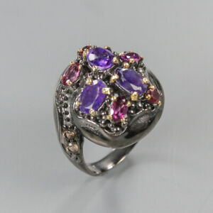 Natural-Amethyst-925-Sterling-Silver-Ring-Size-8-5-RR17-1485