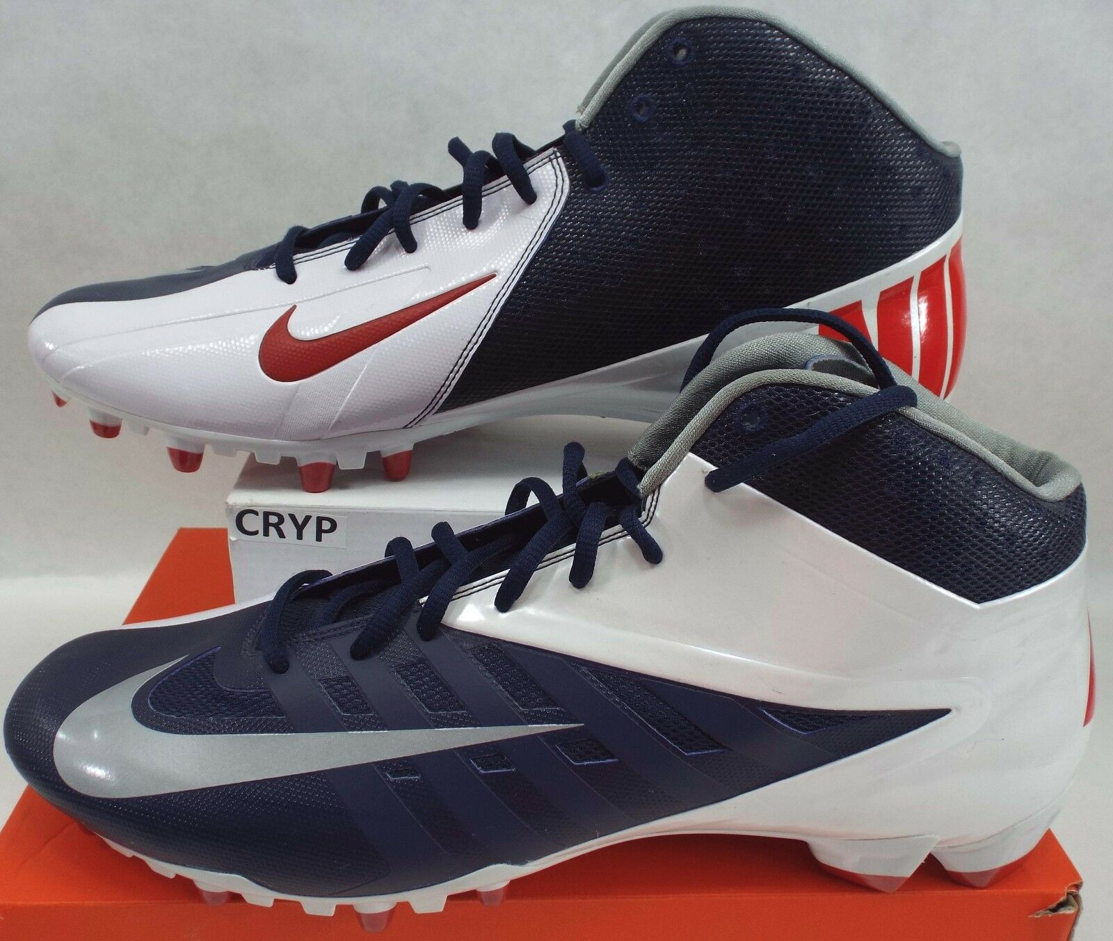 New Mens 16 Nike Vapor Pro 3/4 Navy Red White Patriots Cleats 543924-419 Shoes