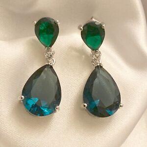 White-Gold-Dangle-Earrings-cz-Sapphire-amp-Emerald-Pear-Gems-18k-GF-31x22mm-BOXED