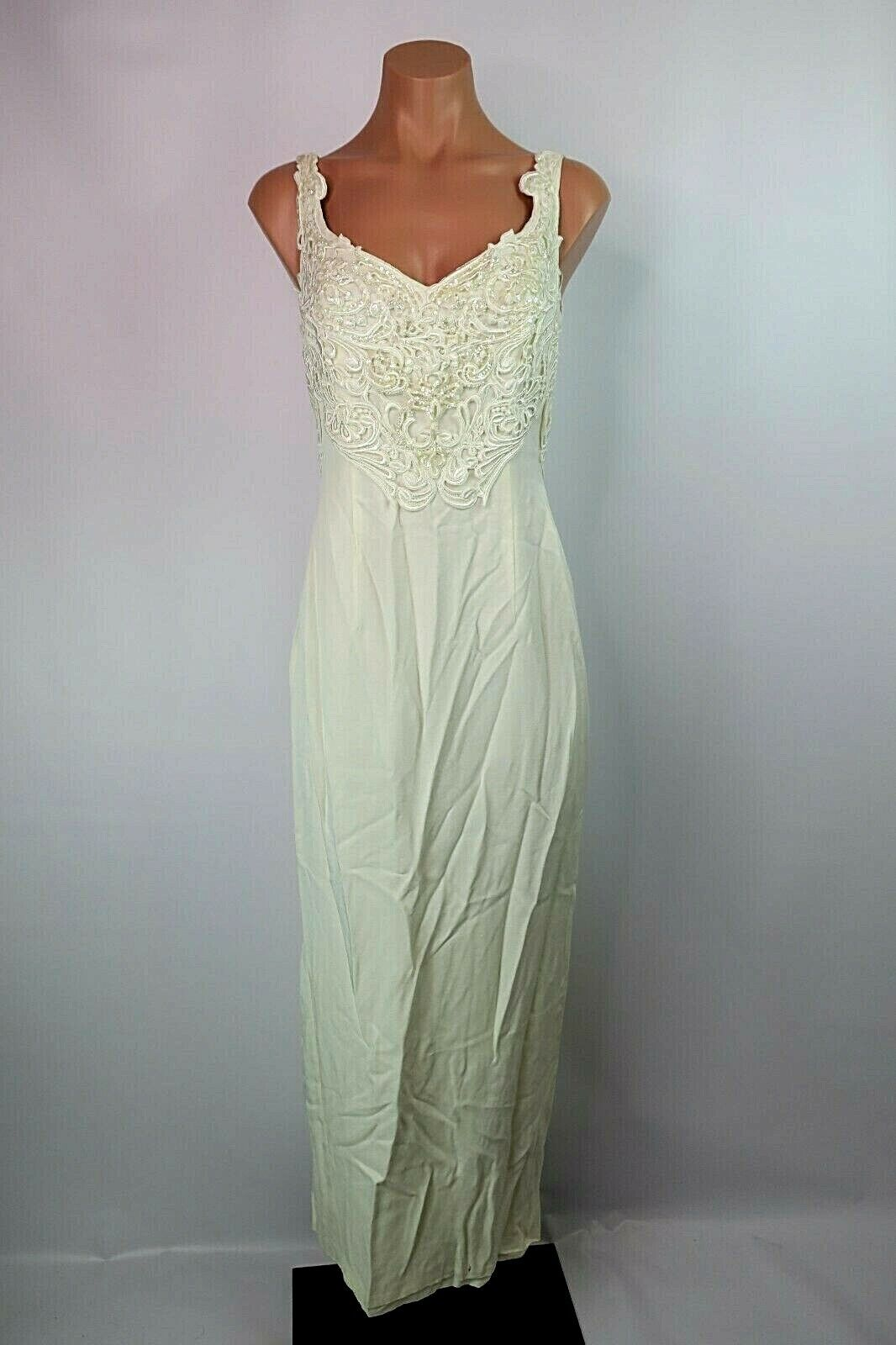 VTG Cache Ivory Pearl Wiggle Beaded Full Sequins Sleeveless Evening Wedding Gown