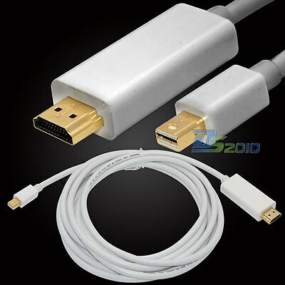 3/6.5/10Ft 1/2/3M Mini Display Port MDP Male to HDMI Male Cable Adapter HDTV DVD