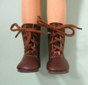 """Lace Up Brown Boots for Dolls 50mm 2/"""" X 1/"""" fit P-90 Toni doll"""