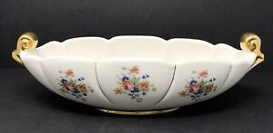 Vintage-Abingdon-USA-Pottery-Console-Bowl-Planter-Cream-Pink-Floral-No-532