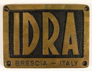 IDRA-Brescia-Messing-Plakette-Schild-50er-Jahre-Druckgussmaschine-Italien