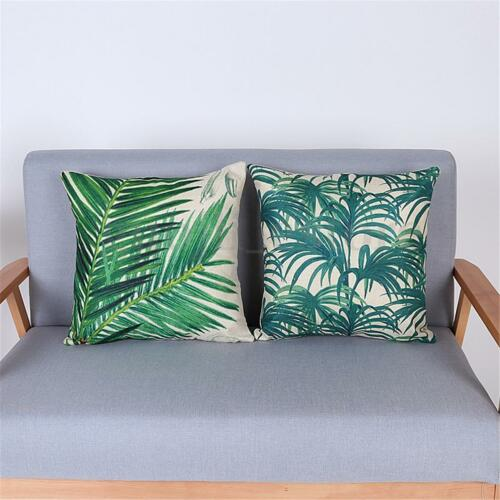 """Green Tropical Plants Plam Tree Leaves Linen Pillow Case Cushion Cover 18/""""x18/"""""""