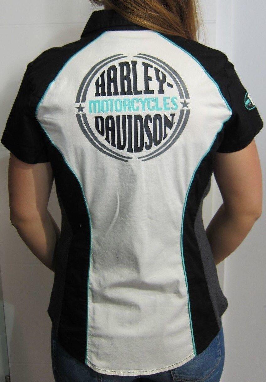 Harley-Davidson Blause weiß schwarz grün Biker Weste 96114-14VW  NEU    Gr. XL