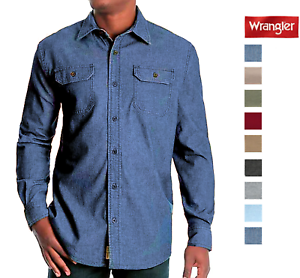 Wrangler-Men-s-Long-Sleeve-Stretch-Twill-Relaxed-Double-Pocket-Shirt-Pick-Size