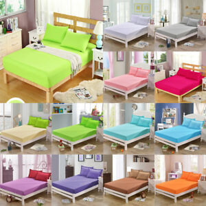 Cotton-Fitted-Sheet-Bed-Cover-Coverlet-Set-Pillowcases-Comfort-Solid-Colors-New