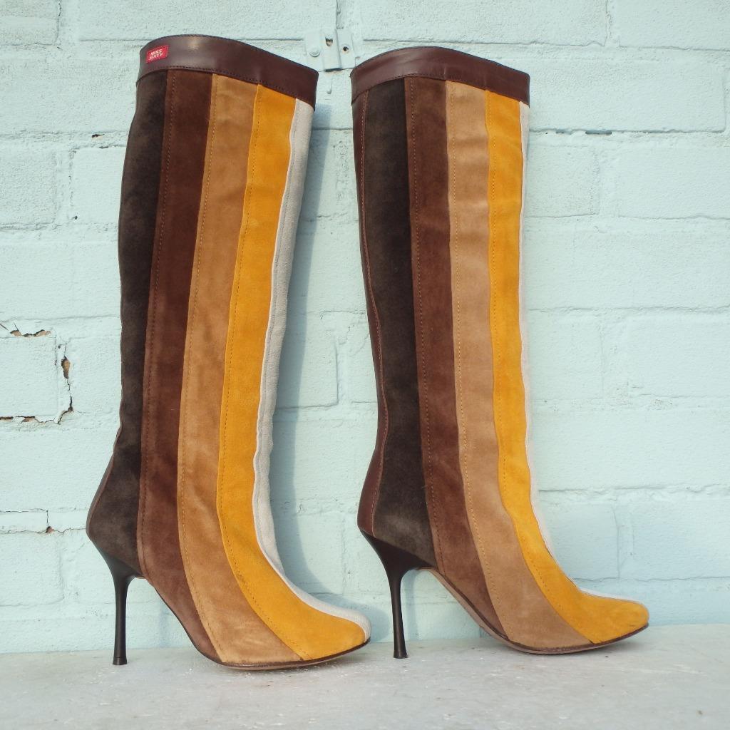 Miss Sixty Suede Leather Stiefel Uk 3 Eur 36 Pull on braun Gelb Weiß Stripe