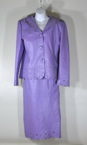 Light Purple Leather Suit, Size 14