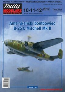 "PAPER-CARD MODEL KIT-MALY MODELARZ -Bomber B-25C ""Mitchell"" MkII"